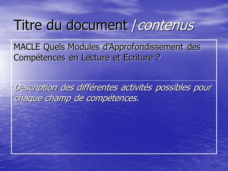 Titre du document /contenus MACLE Quels Modules dApprofondissement des Compétences en Lecture et Ecriture ? Description des différentes activités poss