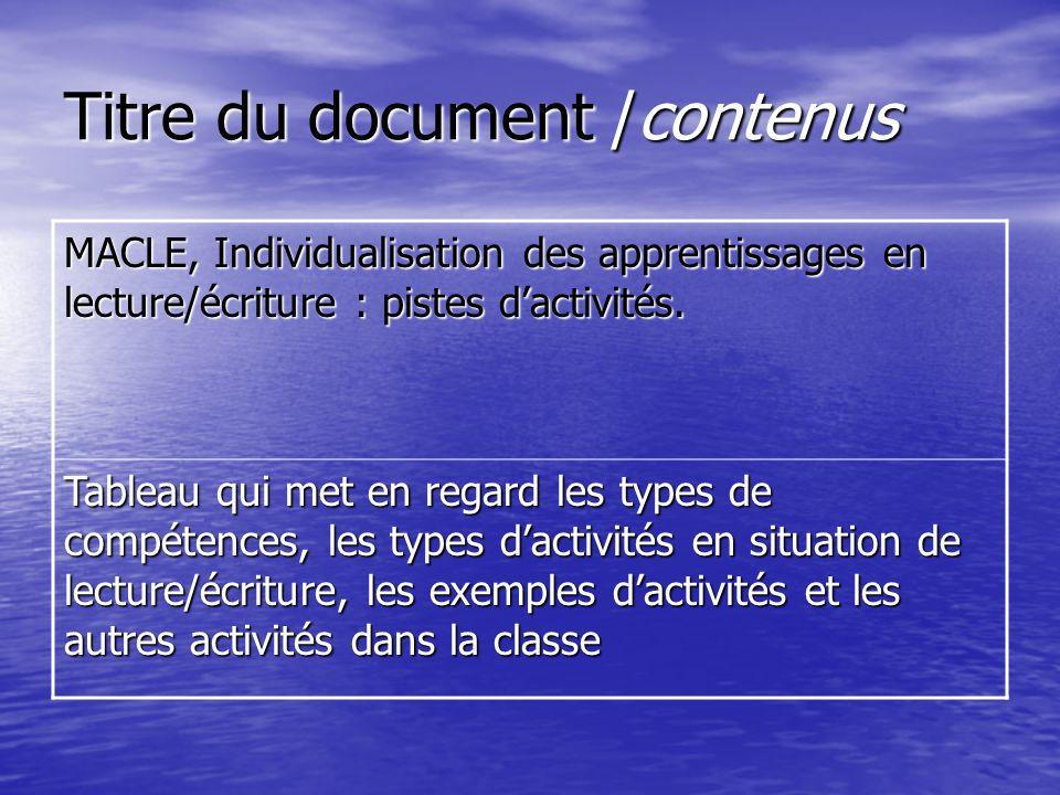 Titre du document /contenus MACLE, Individualisation des apprentissages en lecture/écriture : pistes dactivités. Tableau qui met en regard les types d
