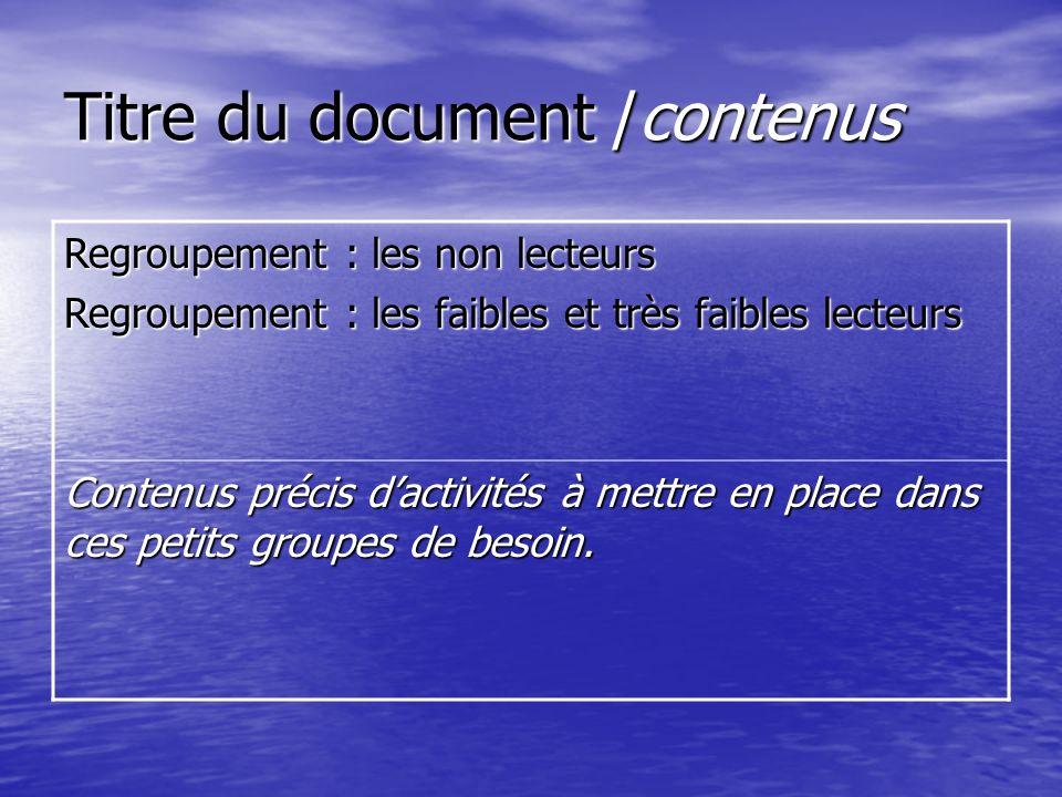 Titre du document /contenus Regroupement : les non lecteurs Regroupement : les faibles et très faibles lecteurs Contenus précis dactivités à mettre en