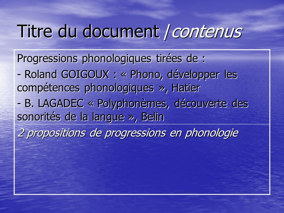 Titre du document /contenus Progressions phonologiques tirées de : - Roland GOIGOUX : « Phono, développer les compétences phonologiques », Hatier - B.