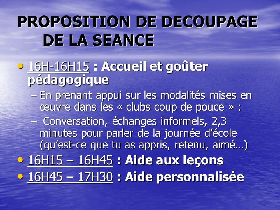 PROPOSITION DE DECOUPAGE DE LA SEANCE 16H-16H15 : Accueil et goûter pédagogique 16H-16H15 : Accueil et goûter pédagogique –En prenant appui sur les mo