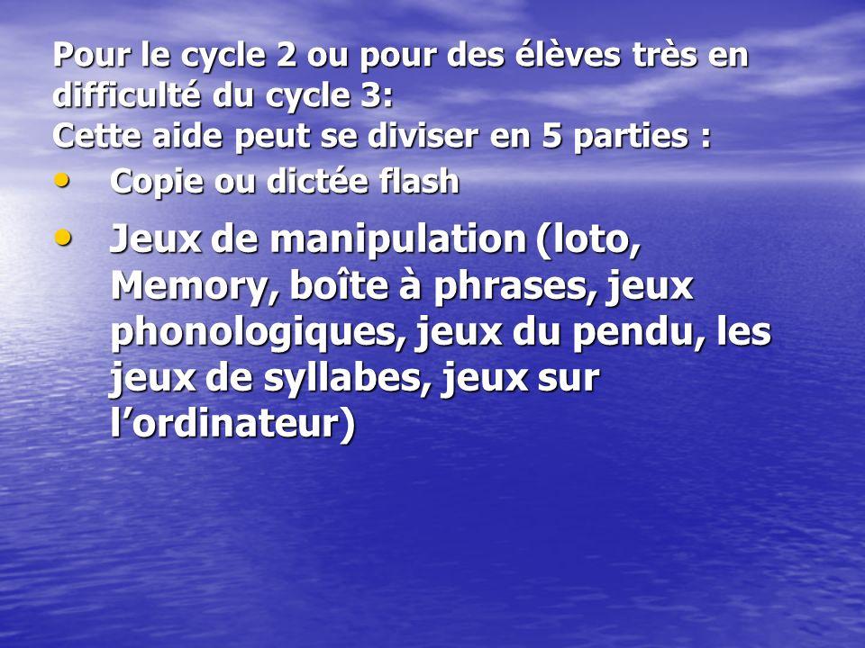 Pour le cycle 2 ou pour des élèves très en difficulté du cycle 3: Cette aide peut se diviser en 5 parties : Production écrite Production écrite Copie