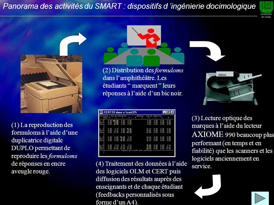 (1) La reproduction des formuloms à laide dune duplicatrice digitale DUPLO permettant de reproduire les formuloms de réponses en encre aveugle rouge.