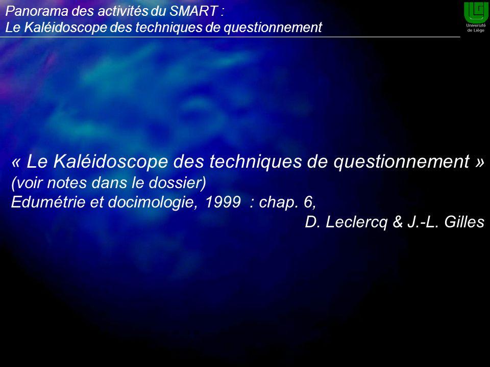 « Le Kaléidoscope des techniques de questionnement » (voir notes dans le dossier) Edumétrie et docimologie, 1999 : chap.