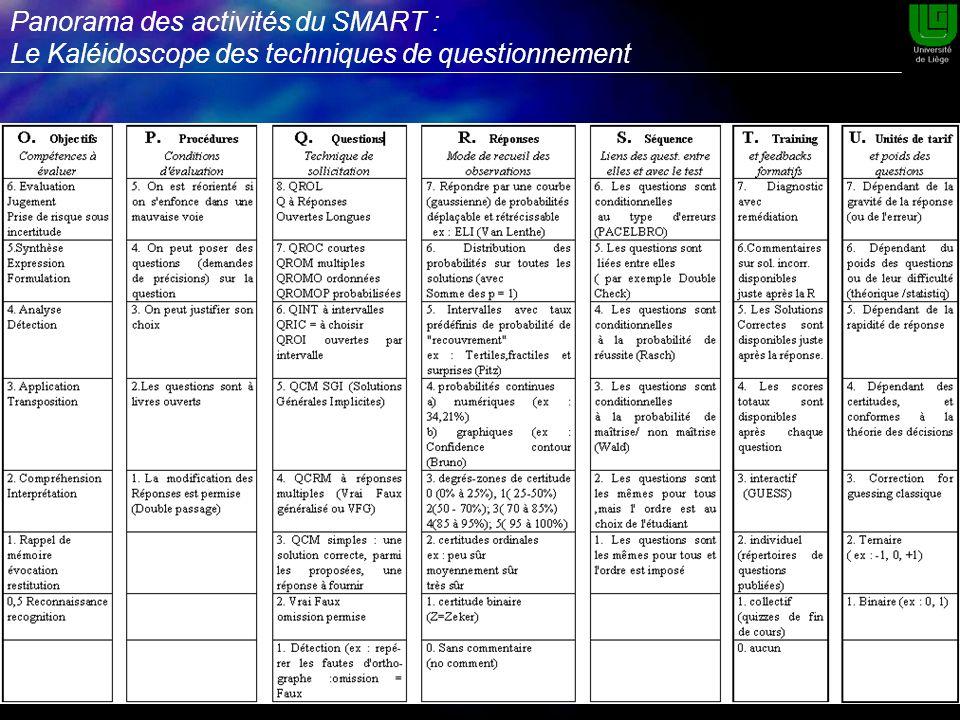 Panorama des activités du SMART : Le Kaléidoscope des techniques de questionnement