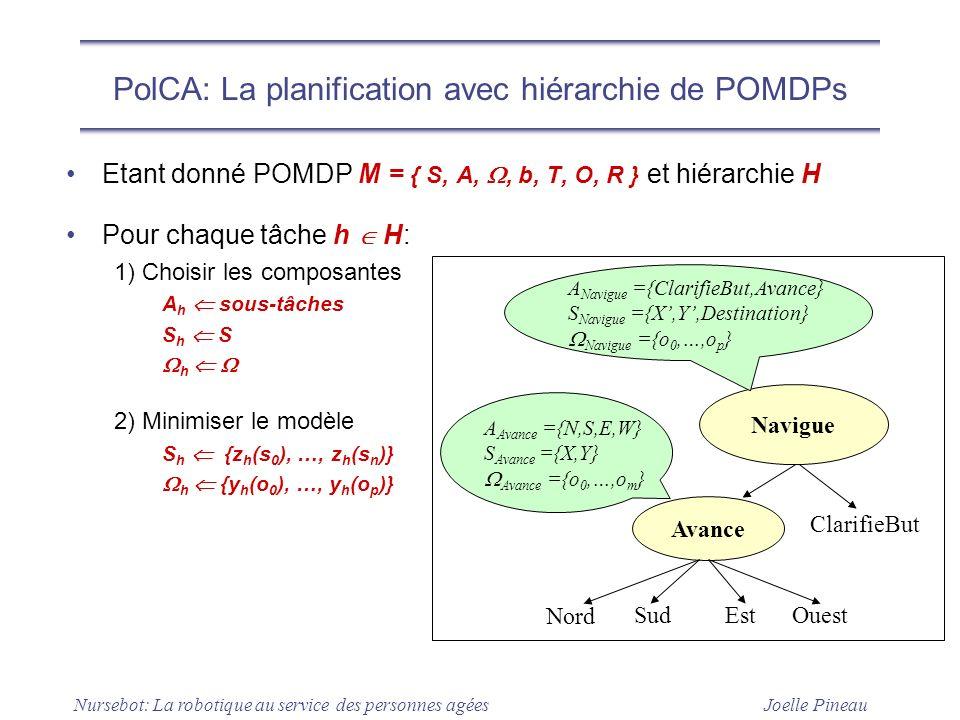 Joelle Pineau Nursebot: La robotique au service des personnes agées PolCA: La planification avec hiérarchie de POMDPs Etant donné POMDP M = { S, A,, b