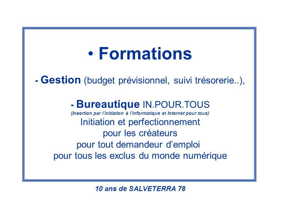 Formations - Gestion (budget prévisionnel, suivi trésorerie..), - Bureautique IN.POUR.TOUS (Insertion par linitiation à linformatique et Internet pour