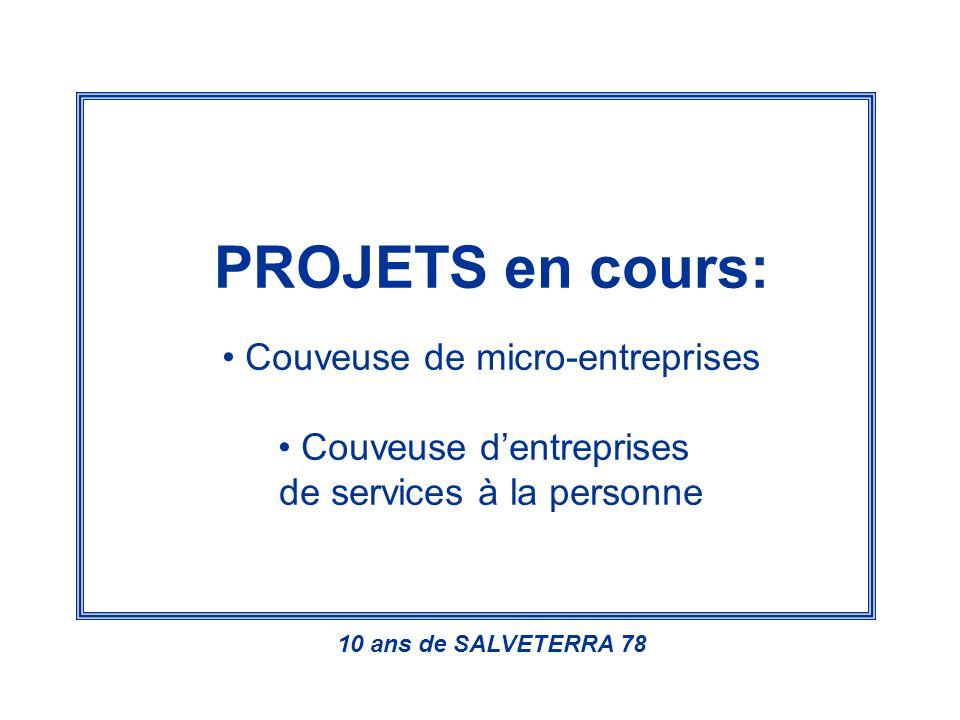 PROJETS en cours: Couveuse de micro-entreprises Couveuse dentreprises de services à la personne 10 ans de SALVETERRA 78