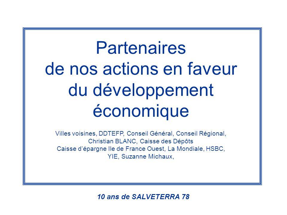Partenaires de nos actions en faveur du développement économique Villes voisines, DDTEFP, Conseil Général, Conseil Régional, Christian BLANC, Caisse d