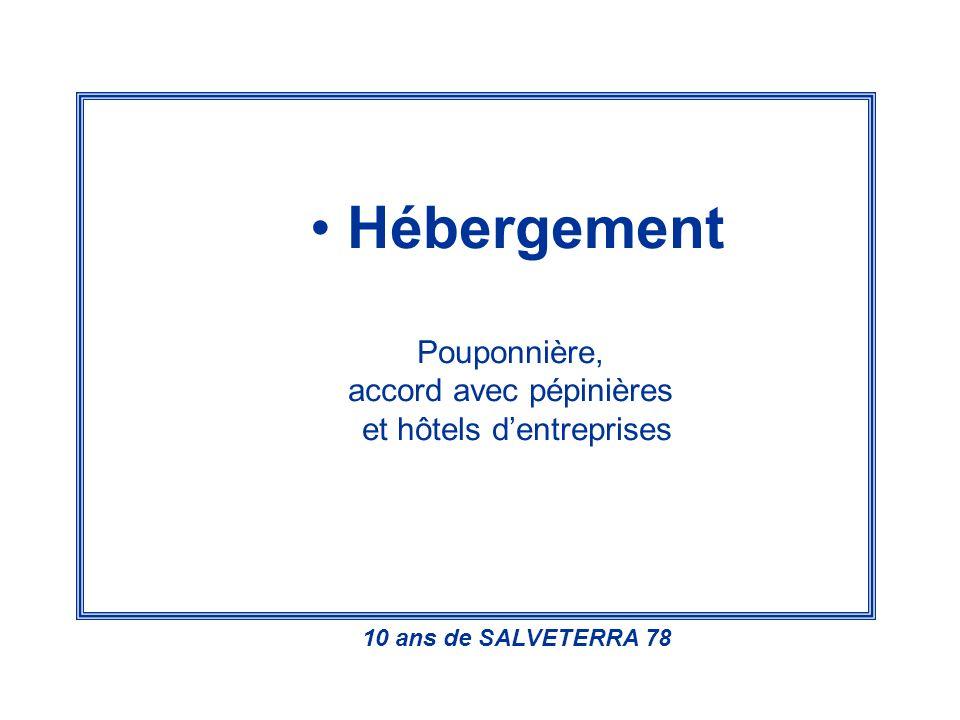 Hébergement Pouponnière, accord avec pépinières et hôtels dentreprises 10 ans de SALVETERRA 78