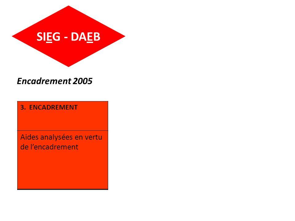 SIEG - DAEB Encadrement 2005 3. ENCADREMENT Aides analysées en vertu de lencadrement