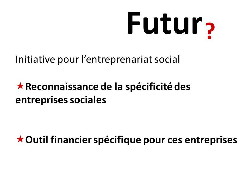 Initiative pour lentreprenariat social Reconnaissance de la spécificité des entreprises sociales Outil financier spécifique pour ces entreprises .