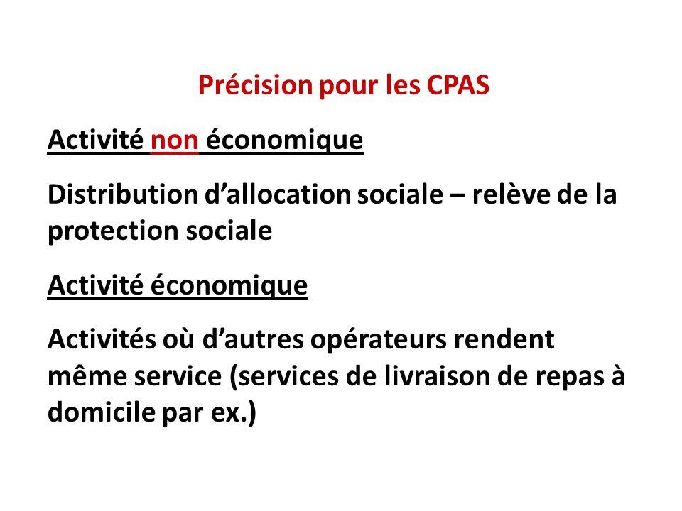 Précision pour les CPAS Activité non économique Distribution dallocation sociale – relève de la protection sociale Activité économique Activités où dautres opérateurs rendent même service (services de livraison de repas à domicile par ex.)