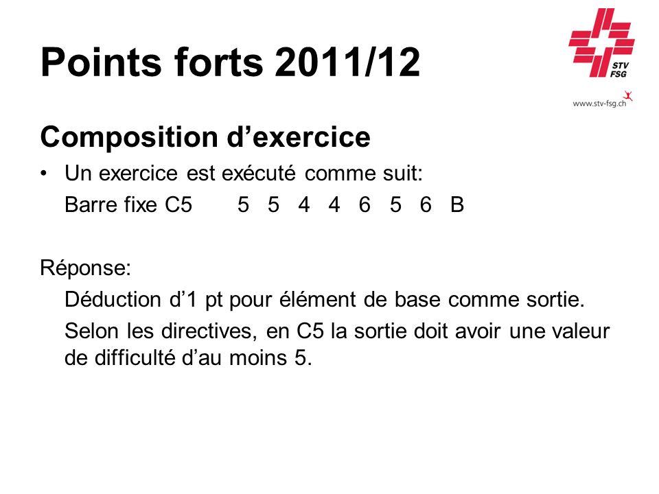 Points forts 2011/12 Composition dexercice Un exercice est exécuté comme suit: Barre fixe C55 5 4 4 6 5 6 B Réponse: Déduction d1 pt pour élément de base comme sortie.