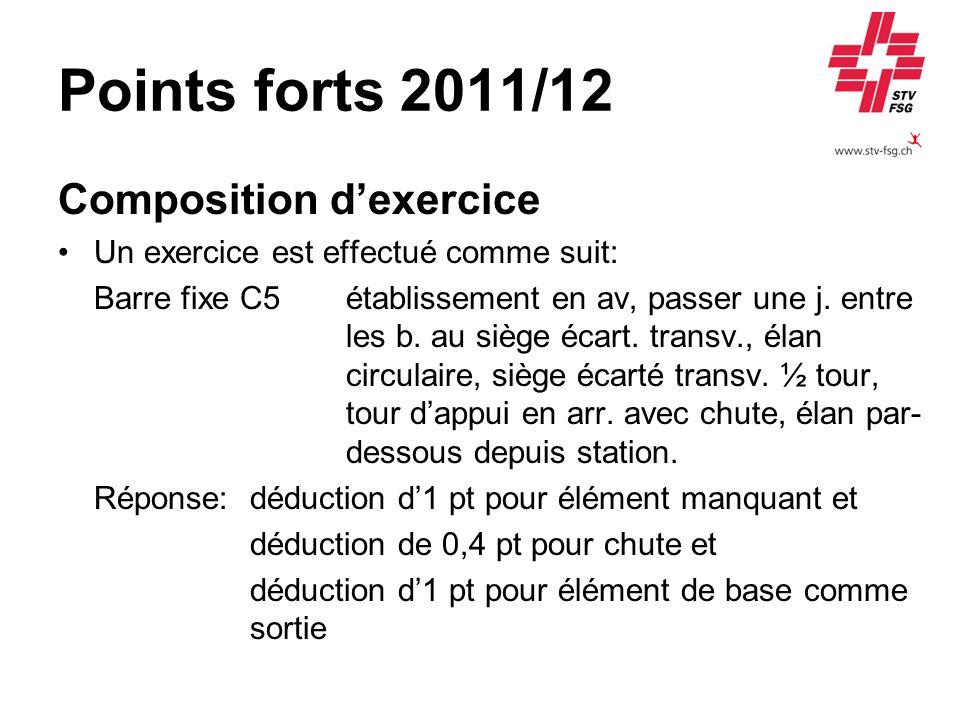 Points forts 2011/12 Composition dexercice Un exercice est effectué comme suit: Barre fixe C5 établissement en av, passer une j.