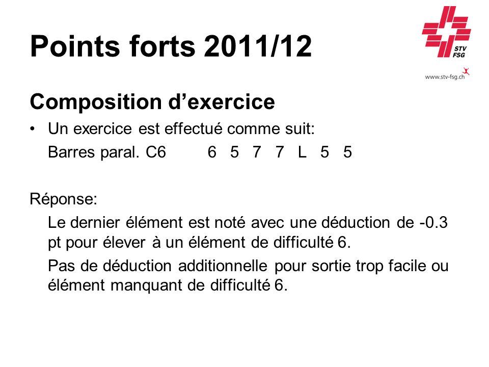 Points forts 2011/12 Composition dexercice Un exercice est effectué comme suit: Barres paral. C6 6 5 7 7 L 5 5 Réponse: Le dernier élément est noté av