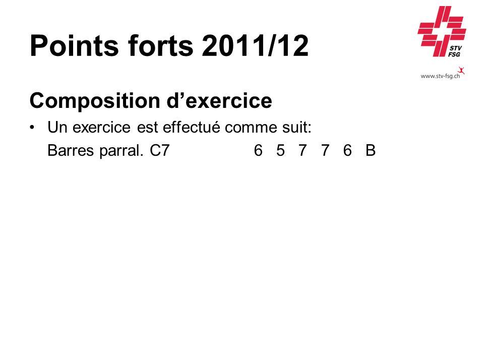 Points forts 2011/12 Composition dexercice Un exercice est effectué comme suit: Barres parral. C7 6 5 7 7 6 B