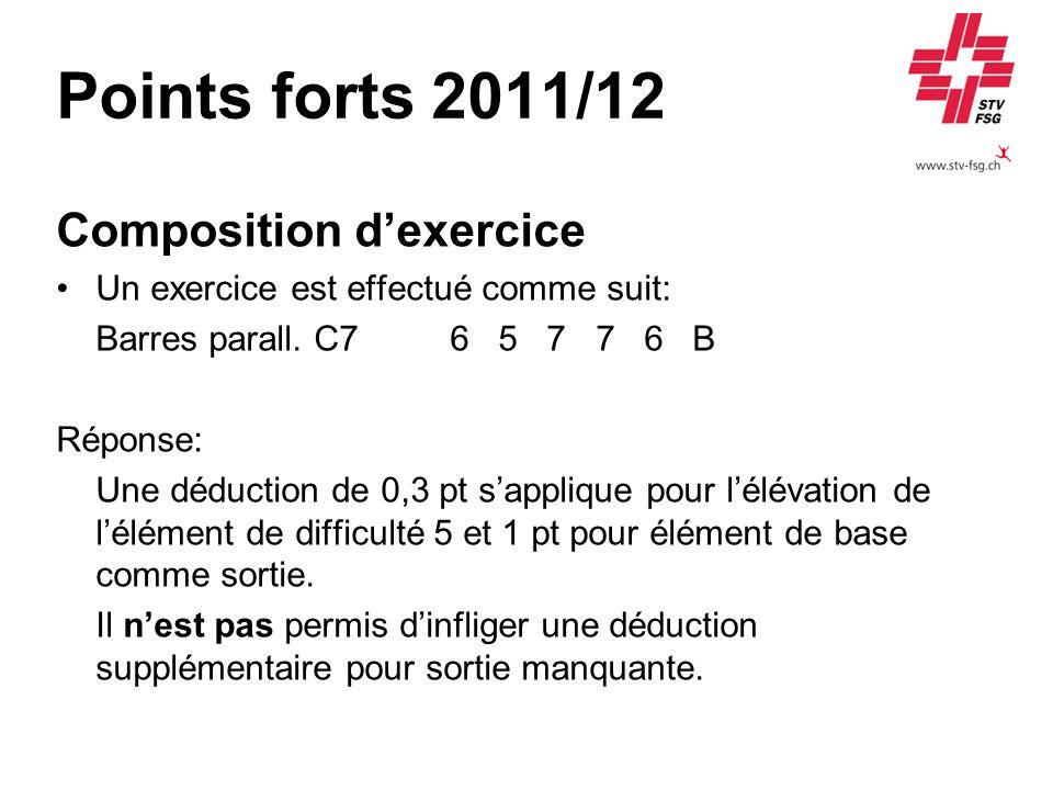 Points forts 2011/12 Composition dexercice Un exercice est effectué comme suit: Barres parall. C7 6 5 7 7 6 B Réponse: Une déduction de 0,3 pt sappliq