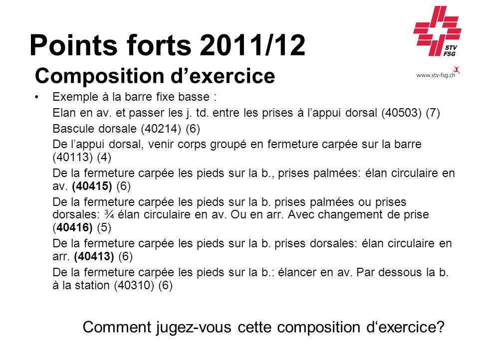 Points forts 2011/12 Composition dexercice Exemple à la barre fixe basse : Elan en av. et passer les j. td. entre les prises à lappui dorsal (40503) (