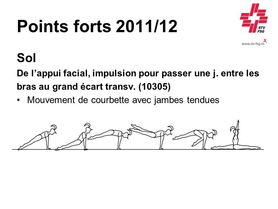 Points forts 2011/12 Sol De lappui facial, impulsion pour passer une j. entre les bras au grand écart transv. (10305) Mouvement de courbette avec jamb