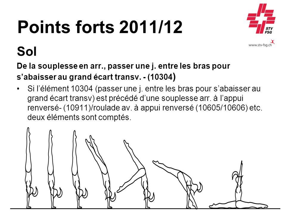Points forts 2011/12 Sol De la souplesse en arr., passer une j. entre les bras pour sabaisser au grand écart transv. - (10304 ) Si lélément 10304 (pas