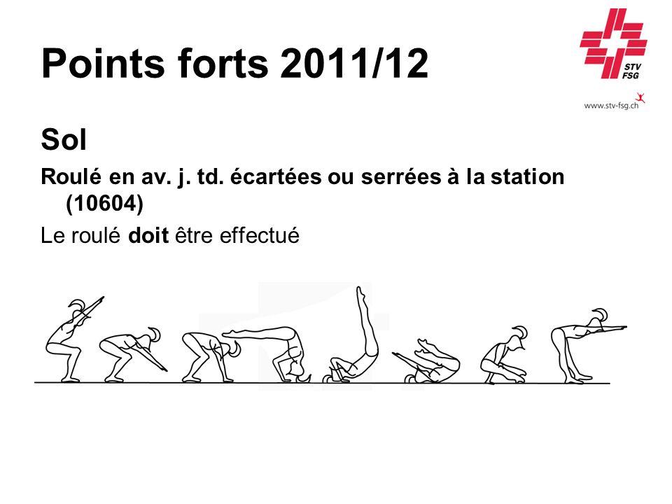 Points forts 2011/12 Sol Roulé en av. j. td. écartées ou serrées à la station (10604) Le roulé doit être effectué