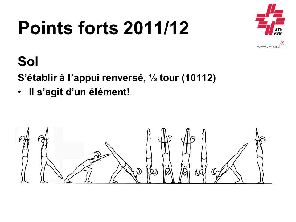 Points forts 2011/12 Sol Sétablir à lappui renversé, ½ tour (10112) Il sagit dun élément!