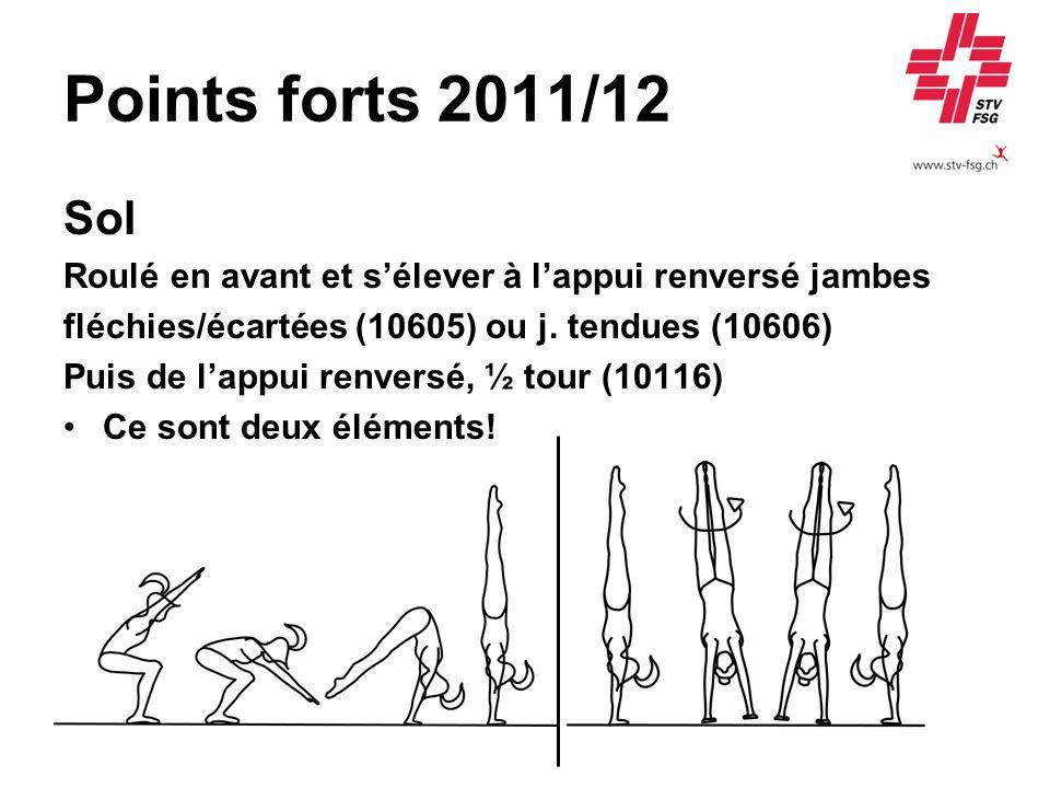 Points forts 2011/12 Sol Roulé en avant et sélever à lappui renversé jambes fléchies/écartées (10605) ou j. tendues (10606) Puis de lappui renversé, ½