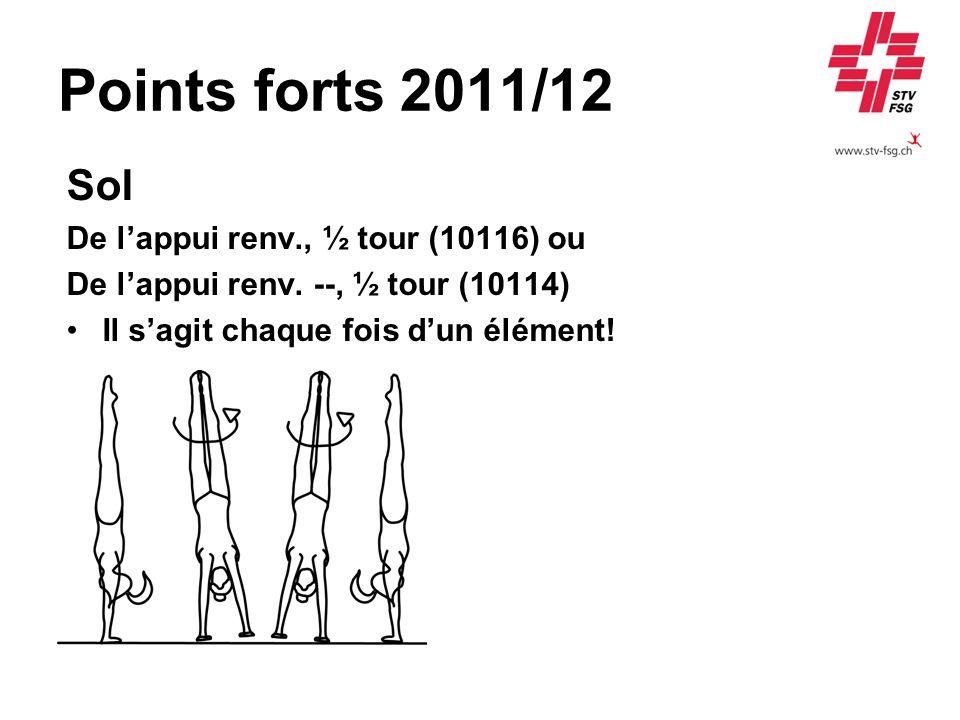 Points forts 2011/12 Sol De lappui renv., ½ tour (10116) ou De lappui renv. --, ½ tour (10114) Il sagit chaque fois dun élément!