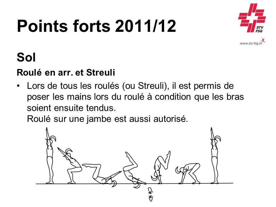 Points forts 2011/12 Sol Roulé en arr. et Streuli Lors de tous les roulés (ou Streuli), il est permis de poser les mains lors du roulé à condition que