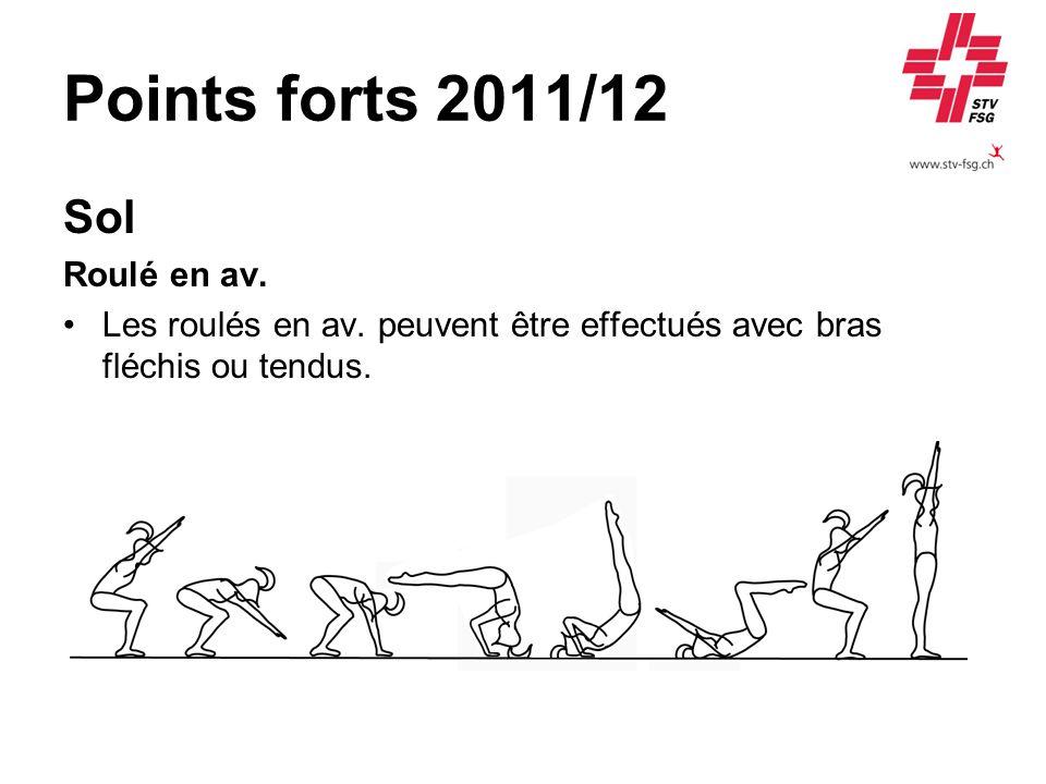 Points forts 2011/12 Sol Roulé en av. Les roulés en av. peuvent être effectués avec bras fléchis ou tendus.