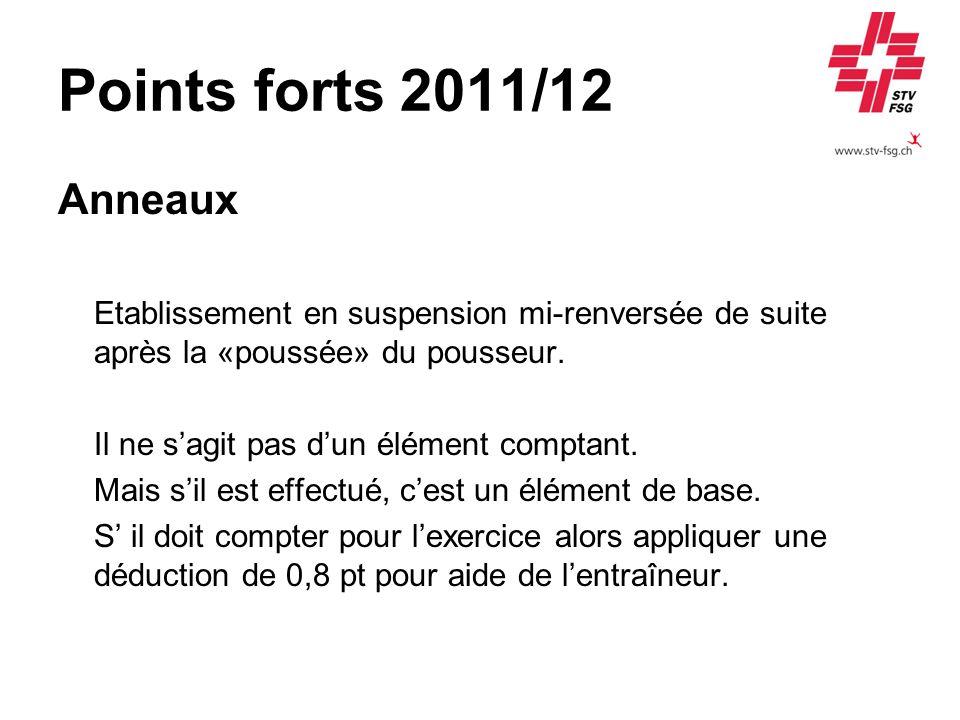 Points forts 2011/12 Anneaux Etablissement en suspension mi-renversée de suite après la «poussée» du pousseur. Il ne sagit pas dun élément comptant. M
