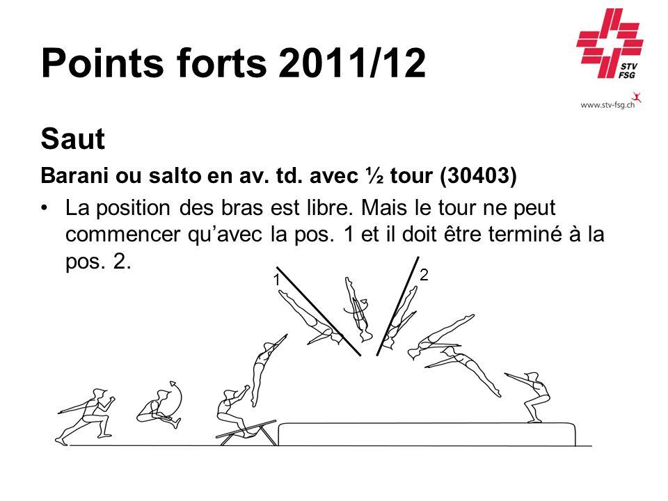 Points forts 2011/12 Saut Barani ou salto en av. td. avec ½ tour (30403) La position des bras est libre. Mais le tour ne peut commencer quavec la pos.