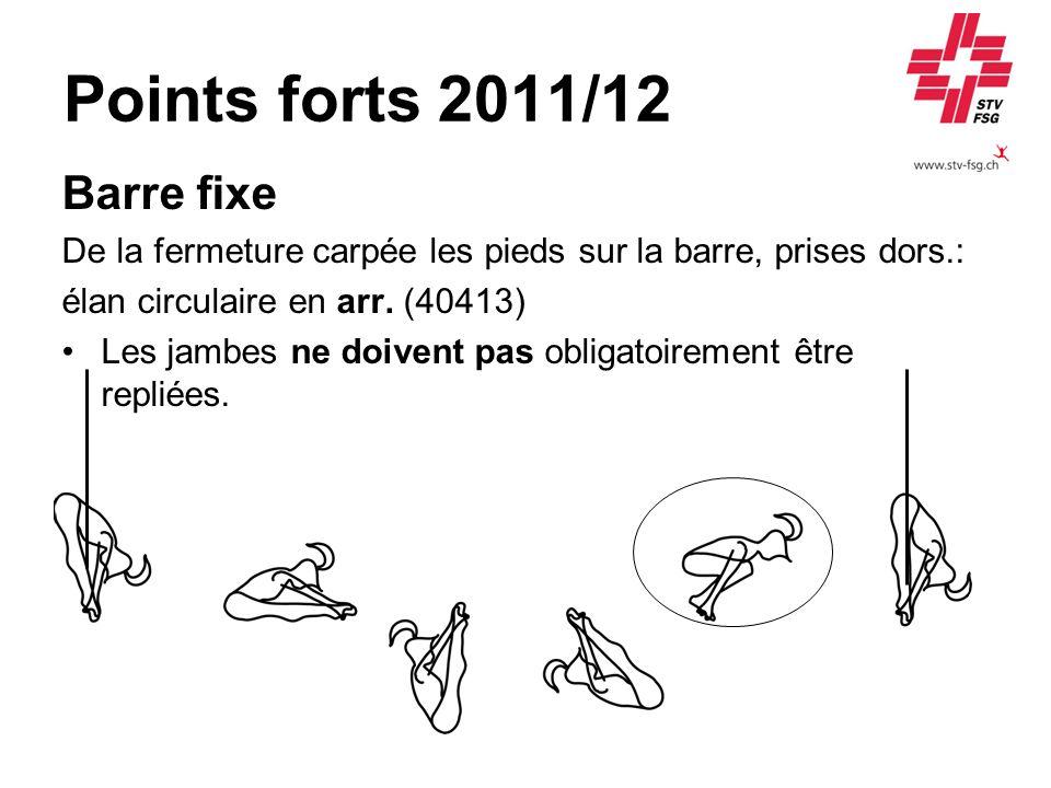 Points forts 2011/12 Barre fixe De la fermeture carpée les pieds sur la barre, prises dors.: élan circulaire en arr. (40413) Les jambes ne doivent pas