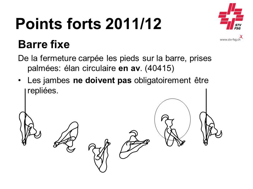 Points forts 2011/12 Barre fixe De la fermeture carpée les pieds sur la barre, prises palmées: élan circulaire en av.