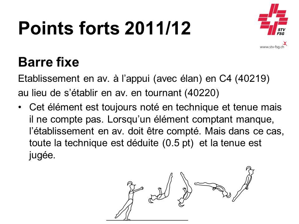 Points forts 2011/12 Barre fixe Etablissement en av.