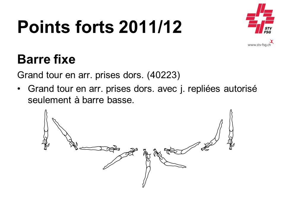 Points forts 2011/12 Barre fixe Grand tour en arr. prises dors. (40223) Grand tour en arr. prises dors. avec j. repliées autorisé seulement à barre ba