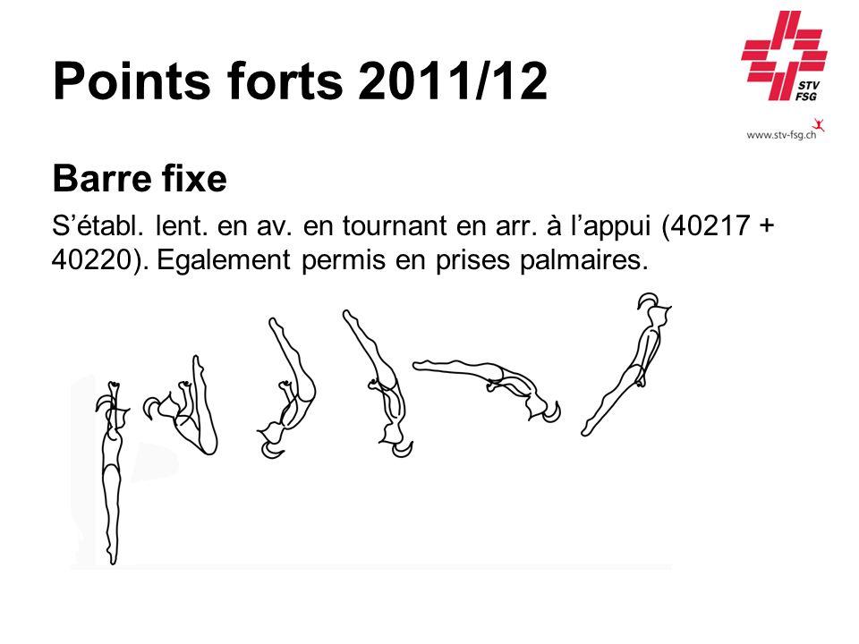 Points forts 2011/12 Barre fixe Sétabl. lent. en av. en tournant en arr. à lappui (40217 + 40220). Egalement permis en prises palmaires.