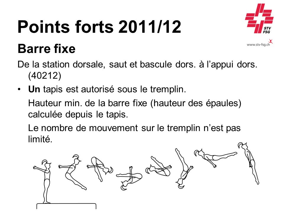 Points forts 2011/12 Barre fixe De la station dorsale, saut et bascule dors. à lappui dors. (40212) Un tapis est autorisé sous le tremplin. Hauteur mi