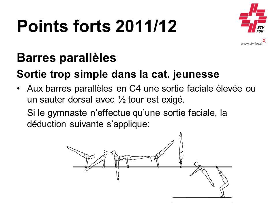 Points forts 2011/12 Barres parallèles Sortie trop simple dans la cat. jeunesse Aux barres parallèles en C4 une sortie faciale élevée ou un sauter dor