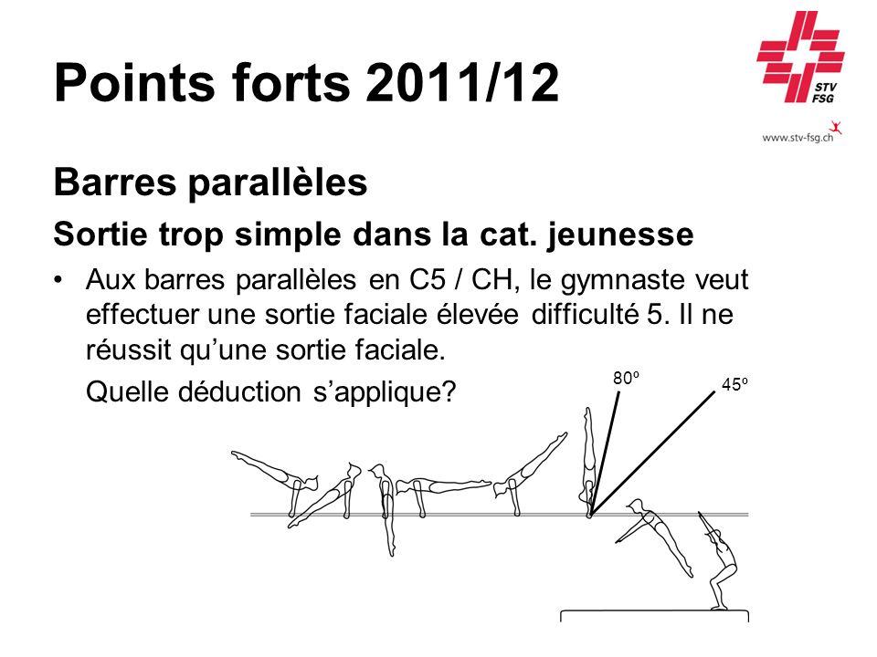 Points forts 2011/12 Barres parallèles Sortie trop simple dans la cat. jeunesse Aux barres parallèles en C5 / CH, le gymnaste veut effectuer une sorti