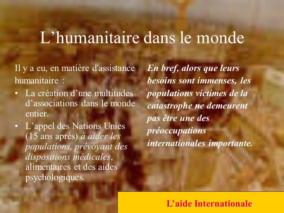 Lhumanitaire dans le monde Il y a eu, en matière d assistance humanitaire : La création dune multitudes dassociations dans le monde entier.