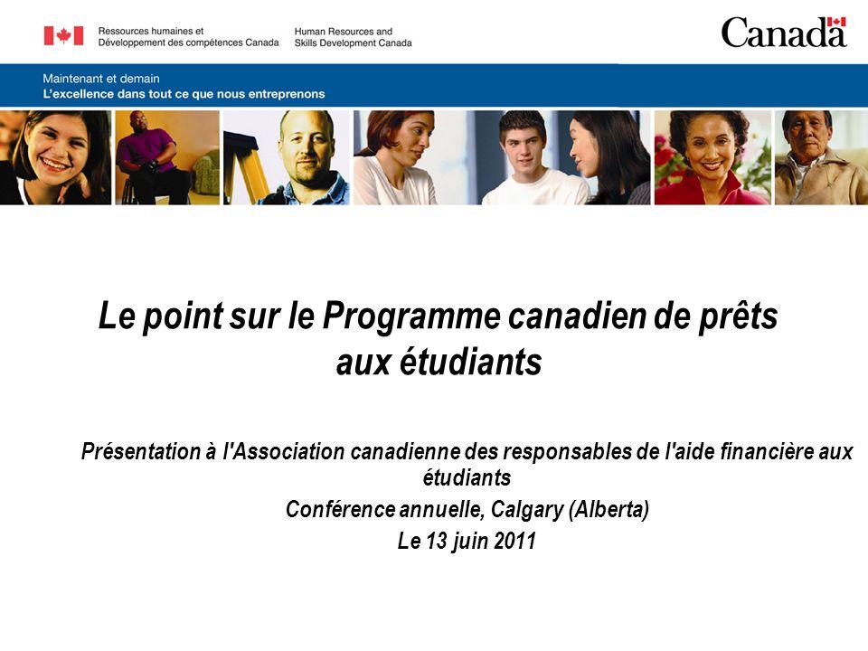 Le point sur le Programme canadien de prêts aux étudiants Présentation à l Association canadienne des responsables de l aide financière aux étudiants Conférence annuelle, Calgary (Alberta) Le 13 juin 2011