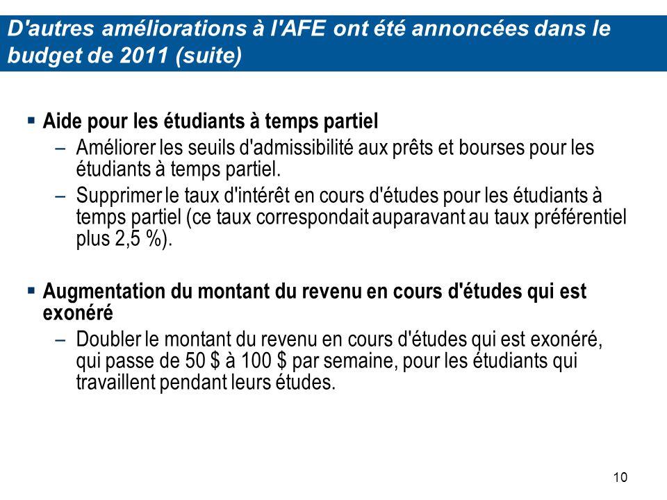 10 Aide pour les étudiants à temps partiel –Améliorer les seuils d admissibilité aux prêts et bourses pour les étudiants à temps partiel.
