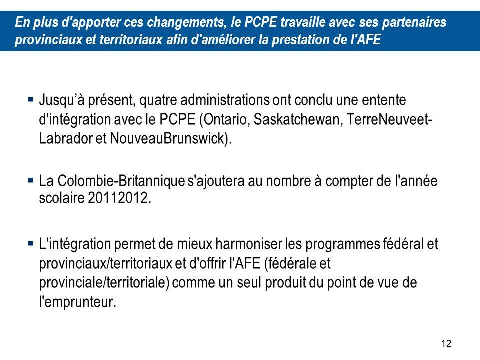 12 Jusquà présent, quatre administrations ont conclu une entente d intégration avec le PCPE (Ontario, Saskatchewan, TerreNeuveet Labrador et NouveauBrunswick).