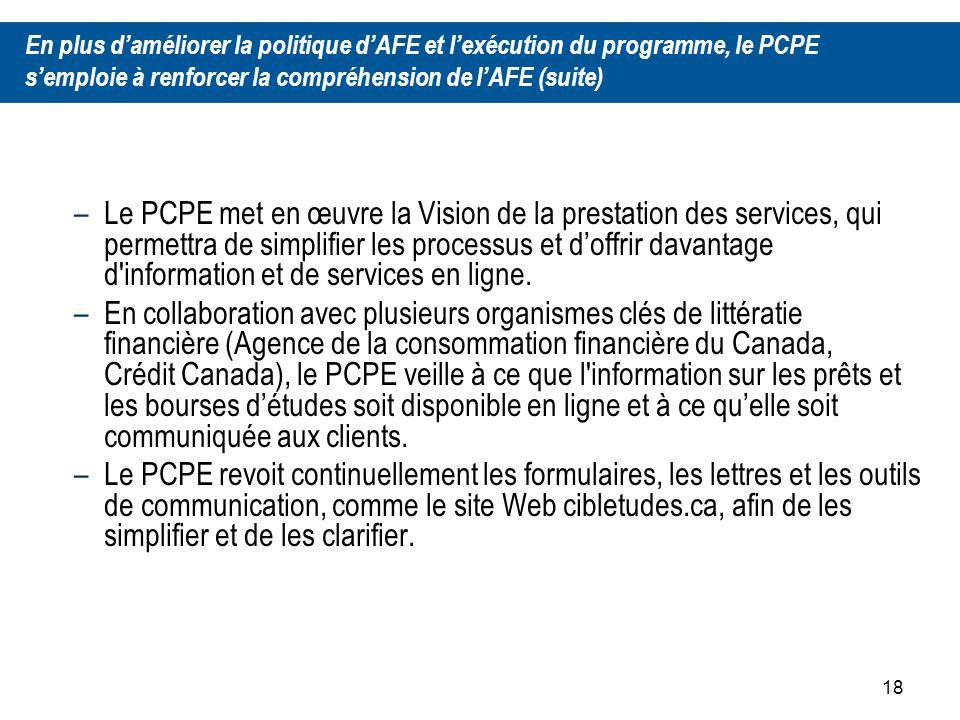18 –Le PCPE met en œuvre la Vision de la prestation des services, qui permettra de simplifier les processus et doffrir davantage d information et de services en ligne.