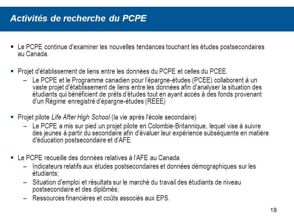 19 Le PCPE continue d examiner les nouvelles tendances touchant les études postsecondaires au Canada.