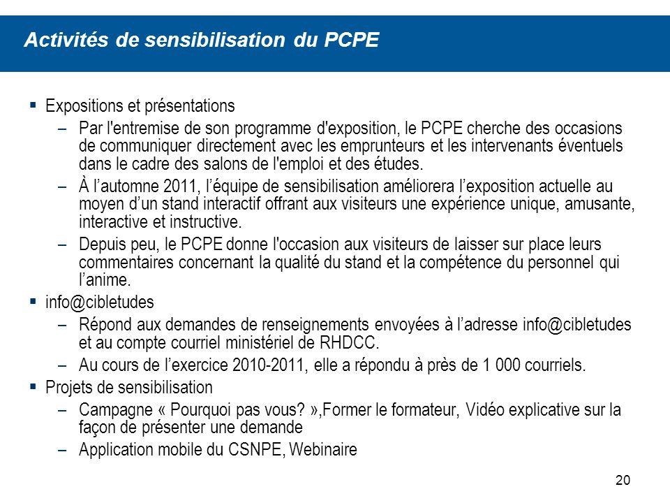 21 LACRAFE, qui représente les responsables de laide financière partout au Canada, est un partenaire précieux pour le PCPE.