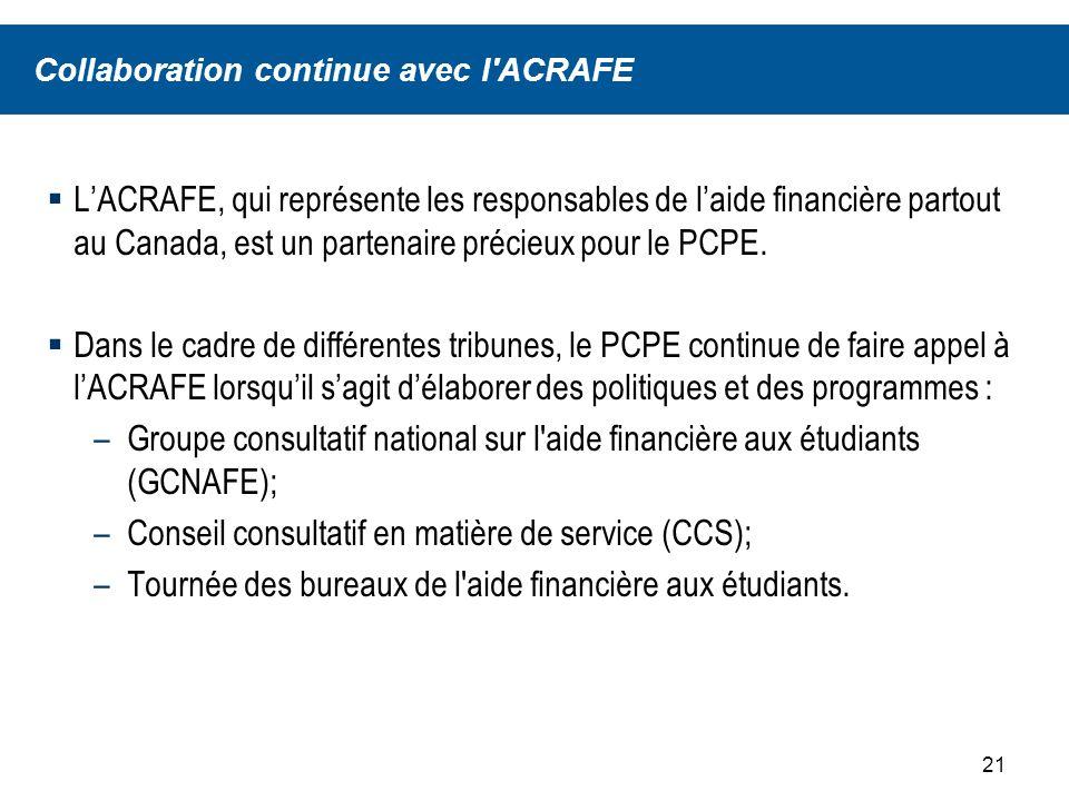 22 Sommaire Le PCPE constate que de plus en plus détudiants bénéficient de lAFE et que le Programme canadien de bourses aux étudiants (PCBE) et le Programme daide au remboursement (PAR) ont été mis en œuvre avec succès.