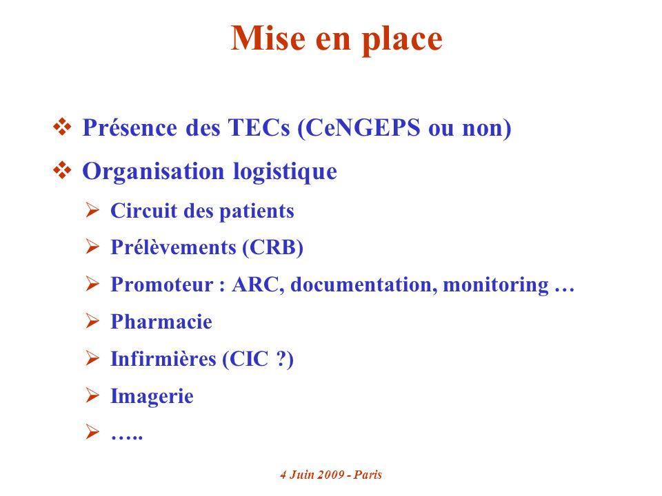 4 Juin 2009 - Paris Mise en place Présence des TECs (CeNGEPS ou non) Organisation logistique Circuit des patients Prélèvements (CRB) Promoteur : ARC, documentation, monitoring … Pharmacie Infirmières (CIC ) Imagerie …..